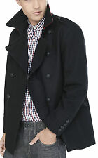New EXPRESS $278 Wool Blend Double Breasted Military Peacoat Black Coat XL