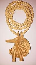 "Wood Anubis Pendant Egyptian Pharaoh Egypt 36"" Bead Necklace Kemet Hip Hop"
