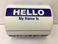 "250 Labels 3.5""x 2.375"" BLUE Hello My Name Is Badge Tag Identification Stickers"