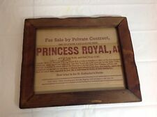 "Vintage Collectible Framed ""Princess Royal, AI"" Wall Hanging"