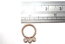 Rose Gold Titanium Triple Gem Crystal CZ Seamless Hoop 16 gauge 8 mm diameter