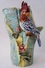Large Vintage Majolica Crested Cockatoo Parrot Banana Leaf Vase Tropical Decor