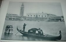 1892 Antique Print PALACE OF THE DOGES VENICE ITALY Gondola Waterway Photograph