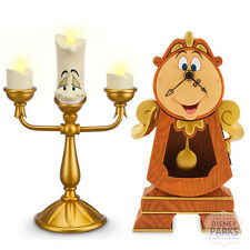 Disney Parks Cogsworth Clock & Lumiere Set Beauty and the Beast Figures