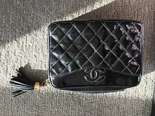 CHANEL Vintage Patent Quilted Tassel Camera Bag Black Shoulder Bag CC