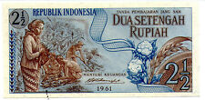 Indonesia 2 1/2rp  Banknote UNC 1961