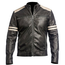 Mens Biker Vintage Motorcycle Black Cafe Racer Leather Jacket