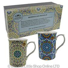 NEW SET of TWO Fine China MUGS by Leonardo Moroccan Murals ART Collection Gift