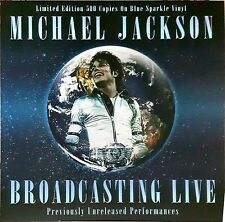 "MICHAEL JACKSON - Broadcasting Live (Blue Sparkle Vinyl) Lp 12"" 33 Giri New"