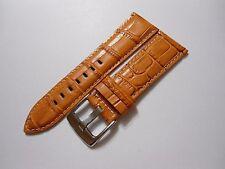 Qualität Uhrenarmband angenehmes Leder Uhr Armband Kroko Print honig-braun 24 mm