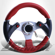 320MM 6 BOLTS NOS BUTTON STEERING WHEEL RED/CARBON W/ JDM HORN - UNIVERSAL 2