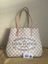 Auth Louis Vuitton Damier Azur Cabas Voyage Limited Edition MM Bag Handbag
