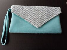 Blue Suede and Cream  Wedding  Occasion Clutch Bag. New