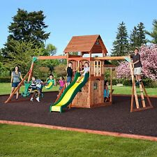 Saratoga Cedar Swing Play Set Kids Outdoor Slide Wood Fort Free Shipping NEW