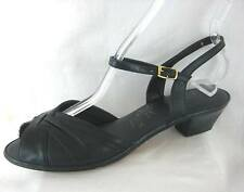 Penaljo Leather Shoe Size 9 Narrow Navy Blue Ankle Strap