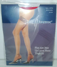 PLUS QUEEN SIZE RED SHEER STAY UP STOCKINGS LEG AVENUE VALENTINES HOSIERY SEXY