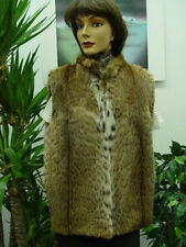 BRAND NEW PLAIN NATURAL MONTANA LYNX FUR VEST JACKET WOMEN WOMAN