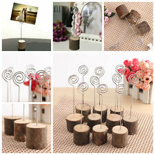 10pcs Wooden Wedding Table Card Photo Picture Holders Name Clip Hardwood Base