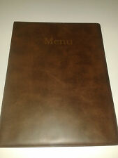 A4 MENU COVER/FOLDER IN BROWN LEATHER LOOK PVC-with pockets on page 2 + 3 ONLY!