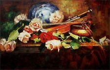 Still Life with Violin and Roses, Quality Hand Painted Oil Painting 24x36in