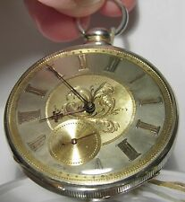 ANTIQUE M J TOBIAS STERLING SILVER & 10K GOLD FILLED KEY WIND POCKET WATCH VIDEO