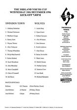 Football Programme SWINDON TOWN YOUTH v WOLVES YOUTH Dec 1996