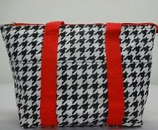 LUNCH TOTE,BAG, HOUNDS TOOTH RED,INSULATED,ZIPPER BAG, SCHOOL,TRAVEL,WORK,NEW