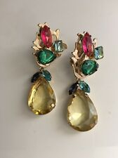 RJ GRAZIANO Crystal Multi Color Clip Drop Dangle Earrings