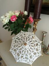 BRUSSELS LACE PARASOL FRENCH VINTAGE DOLL VICTORIAN DRESS PRISTINE HAND MADE
