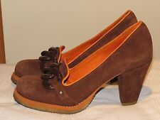"FLY LONDON FLY GIRL BROWN SUEDE LEATHER COURT SHOES 3"" HEELS UK 7 EUR 40 RRP £95"
