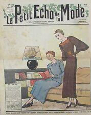 LE PETIT ECHO DE LA MODE N° 7 de 1936 GRAVURE VINTAGE LA LECTURE AU SALON