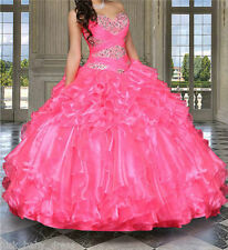 Sweet 16 Organza Crystal Quinceanera Dresses For 15 Years Prom Formal Ball Gown