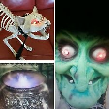 Halloween Party/Prop Witch Cauldron Mister/Skeleton Cat+5FT Witch Bundle/Lights