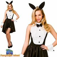 BUNNY HOSTESS PLAYBOY RABBIT TUXEDO UK 6-24 Womens Ladies Fancy Dress Costume