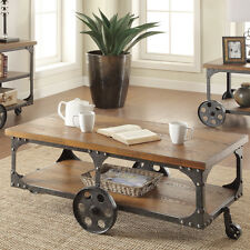 Industrial Coffee Table Antique Wood & Steel Rustic Furniture Railroad Cart NEW