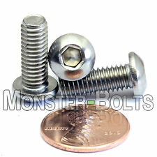 6mm x 1.00 x 16mm - Qty 10 - A2 Stainless Steel BUTTON HEAD Screws  M6-1.0 x 16