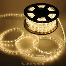 "150' FEET LED Rope Lights WARM WHITE COLOR 1/2"" /13MM 1656 LEDs With Accessories"