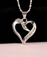 Silver Rhinestone Curve Heart Pendant Necklace w/Free Jewelry Box and Shipping