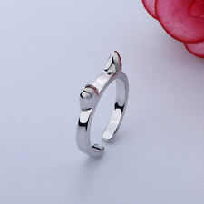 Women Girl Lady New Hot Fashion Cat Adjustable Silver Plated Ring Anel Gifts