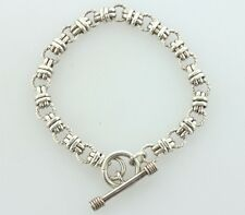 """Sterling Silver 925 Double Oval & Twisted Rope Link Toggle Bracelet - 8"""""""