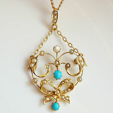 Antique Edwardian 9ct Gold Turquoise & Pearl Lavaliere Pendant Necklace c1905