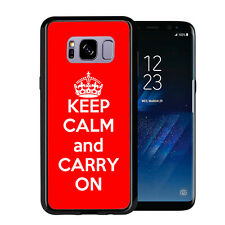 Red Keep Calm and Carry On For Samsung Galaxy S8 2017 Case Cover by Atomic Marke