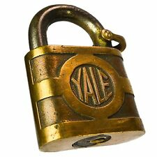 YALE & TOWNE Y&T Padlock Brass Old Vintage Embossed Pad Lock (no key)
