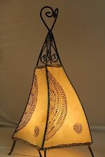 Twist Moroccan table lamp.Beige colour + henna designs. Ethnic bedside light