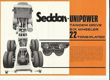 SEDDON MOTORS UNIPOWER TANDEM DRIVE, SIX WHEELER LORRY TRUCK SALE BROCHURE @1970