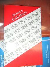 1993 DODGE CARAVAN ORIGINAL FACTORY OPERATORS OWNERS MANUAL PACKAGE NOS