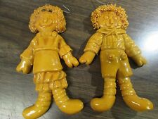 HANDMADE - RAG DOLL BOY & GIRL  -  5  IN. DOUGH ORNAMENT - EXCELLENT