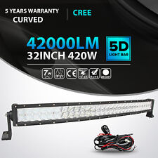 """5D 32""""Inch 420W Curved Cree Led Light Bar Spot Flood Offroad 4WD Truck Jeep 36"""""""