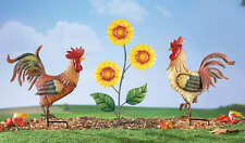 """3pc Set 16"""" ROOSTER & SUNFLOWER METAL GARDEN STAKES Colorful Silhouettes ~ NICE!"""