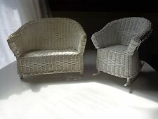 White Wicker Doll Furniture Couch and Rocking Chair